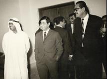 المؤلف مع رئيس المهندسين الدكتور زكي أبو عيد (وهو فلسطيني منح الجنسية الكويتية لكفاءته)