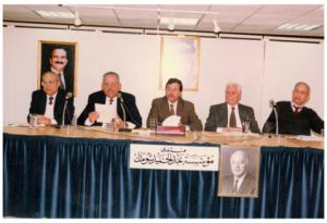 المتحدثون في الذكرى السادسة عشرة لوفاة أحمد الشقيريوهم من اليمين ابراهيم بكر، عبد المجيد شومان، د. أسعد عبد الرحمنوخيري أبو الجبين و د. محمد علي الفرا،منتدى شومان في عمان- شباط 1996