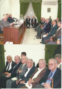 من اليمين: رئيس وبعض أعضاء لجنة تخلبد ذكرى المجاهد أحمد الشقيري يشاركزن في ندوة عن الشقبري أقيمت في المنتدى العربي بعمان في شهر أيلول (سبتمبر) عام 2005